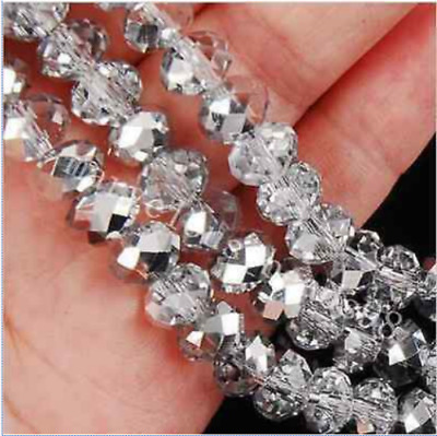 Faceted 100pcs silver white Rondelle glass crysta 4*6mm Beads DIY Jewelry