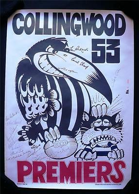 RARE COLLINGWOOD 53 WEG POSTER HAND SIGNED with 15 SIGNATURES