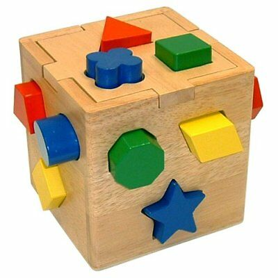 NEW Shape Sorting Cube - Classic Wooden Toy With 12 Shapes