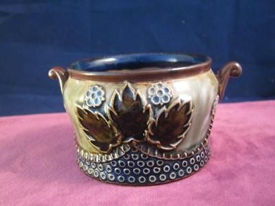 Stunning Antique Royal Doulton  Art Nouveau 2 Scroll  Handle Tactile Bowl Pot