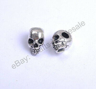 10Pcs Tibetan Silver Charms Skull Loose Spacer Beads 12X8MM D40
