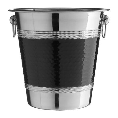 Champagne Wine Ice Bucket Stainless Steel Hammered Black Band Party Cooler