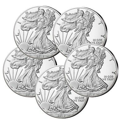 5x USA Silver Eagle 2018 999er Silver 1 oz
