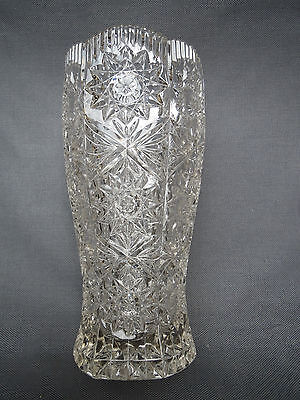 Antique large vase glass carved years 1950 vintage french antique