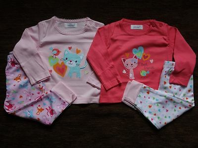 Girls' 2 Pack Long Sleeve Pyjamas Tops Trousers Cat 6-12 Months New out of Pack