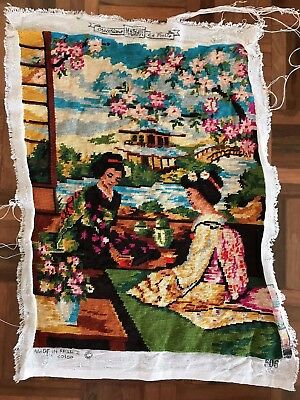 Vintage Margot le Paris completed tapestry Japan geisha spring blossom