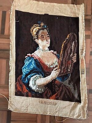 Vintage Royal Paris Tapestry Jean Raoux a woman & her mirror completed large