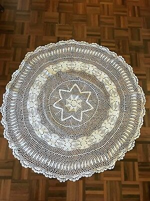 Vintage white crochet floral star round 120cm tablecloth wedding party tea