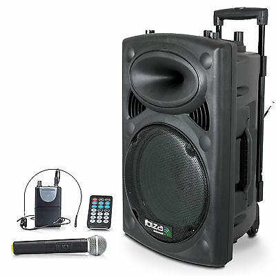 IBIZA PORT15 mobile Sound Beschallungsanlage PA DJ Box Bluetooth USB Akku Mikro