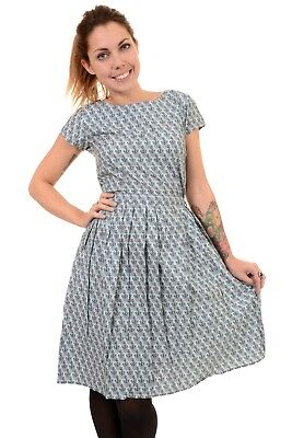 Ladies 50s 60s Vintage Tie Me Up Anchor Tea Party Dress