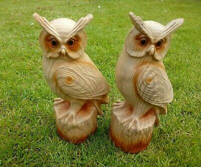 Wood Effect Resin Owl on Logs Ornaments Figurines Statue 22cm Tall