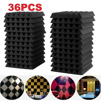 36PCS Acoustic Panels Tiles Studio Sound Proofing Insulation Closed Cell Foam CD