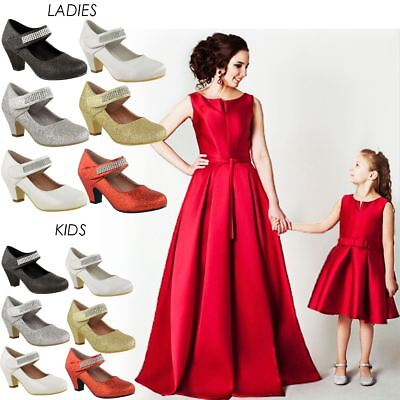 Girls Kids Ladies Low Mid Heel Party Wedding Mary Jane Style Sandals Shoes Size