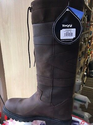 Toggi Quebec waterproof long country boots leather brown casual walking