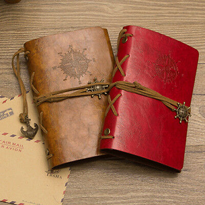 RETRO ANCHOR FAUX LEATHER COVER NOTEBOOK JOURNAL DIARY BLANK NAUTICAL Gift FADDI