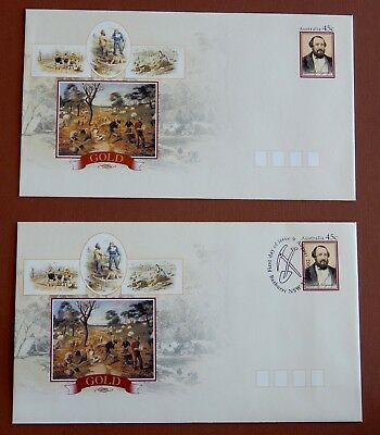 150th Anniversary Discovery of Gold in Australia 2001: Postage Paid Envelope set