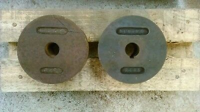 Vintage Cast Iron Stationary Engine Grooved Pulley Wheels 1 marked Dening 2443