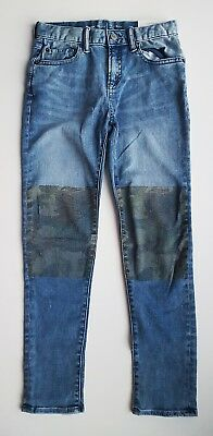 GAP Boys BLUE Stonewashed Denim Camo Patch Slim Jeans High Stretch 5-16y £22.95
