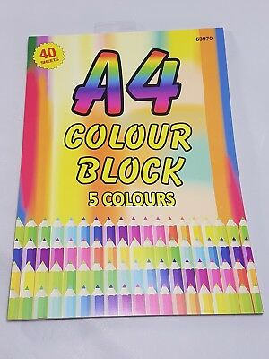 New - A4 Colour Block Paper Pad - 40 Sheets