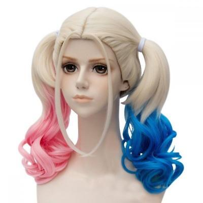 Harley Quinn Wig from Suicide Squad Blonde with Pink & Blue Pigtails - One Size