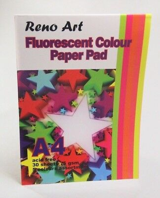New - Reno Art -Fluoresecent Colour Paper Pad - A4 - 30 Sheets, 75Gsm, 5 Colours