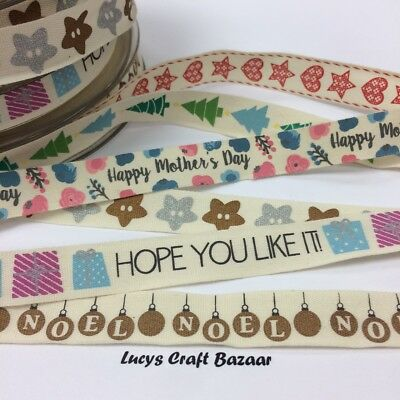 15mm Vintage Ribbon Sold by the metre Christmas Valentines Mothers Day Birthday