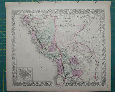 Peru Bolivia Vintage Original Antique 1870 Colton World Atlas Map