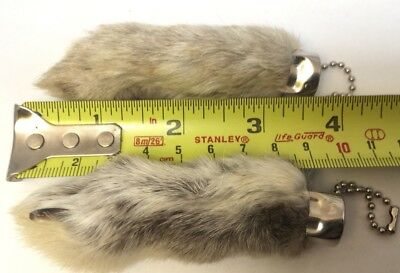 2 x Real Rabbit Foot Lucky Keychain NATURAL GREY Vraie Patte de Lapin Chanceuse