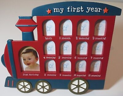 Baby's My First Year Picture Frame Collage Ceramic Train Blue Red