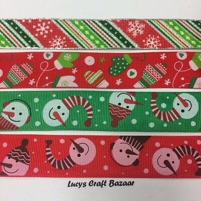 22mm - 24mm Christmas Ribbons by the metre Sparkly Silver Red Green wrapping
