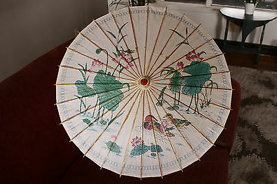 Vintage Oriental Paper Parasol Water Fowl design beautiful