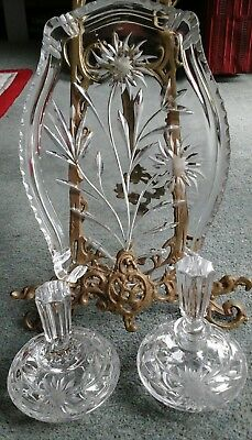 STUNNING VINTAGE Crystal Dressing Table Set Tray Trinket Bowl ...