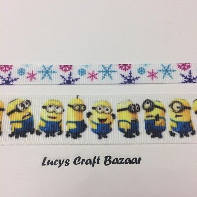 10mm & 22mm Minion & Frozen Ribbon. Sold by the metre. Cake Decorating Trim Kids