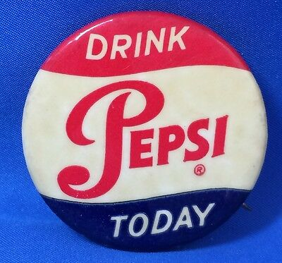 Vintage LARGE 1 3/4-in DRINK PEPSI Soda Advertising Celluloid Pinback Pin