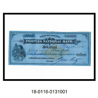 1882 Peoples National Bank Check (Rock Island Railroad)