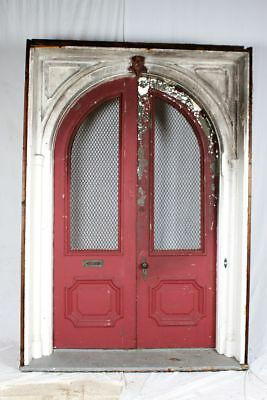 1800s Grand Queen Anne Antique Arched Double Entry Exterior Door +Jamb  6x9 ft
