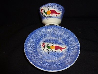 Vintage Peafowl Spatterware Cup & Saucer, Possibly by Mary Weaver