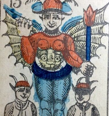 Authentic c1845 The Devil Antique Tarot Playing Cards Historic Italian Single