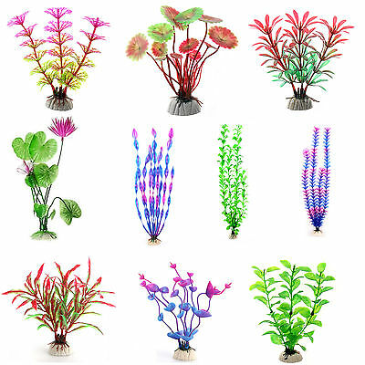 Fish Tank Aquarium Decor Accessories Artificial Water Plant Multi Plastic Grass