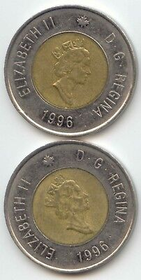Canada 1996 x2 Toonie Canadian $2 Dollars Twoonie Toony Two Dollar EXACT COINS