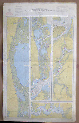"Vtg 1954 C&GS 2-Sided CHART #837 & 838 INTRACOASTAL WATERWAY NC SC 24"" x 39.5"""