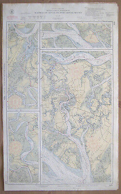 "Vtg 1951 C&GS Nautical CHART #838 INTRACOASTAL WATERWAY SC 24"" x 39"""