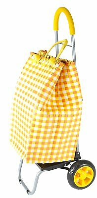 Trolley Dolly Basket Weave Tote, Yellow Shopping Grocery Foldable Cart Picnic Be