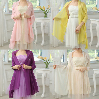 Wedding Shawl Bride Bridesmaid Prom Dress Stole Bridal Chiffon Sash Soft Wrap