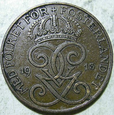 Sweden 1913 2 Ore(LotO1111510f)Free Registered Post