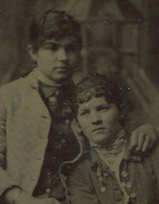 Two Sisters, Affectionate Pose. Painted Background, Tintype.