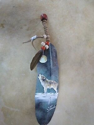 Hand Painted Feather , Wolf , Decor ,hunters, Southwest Art ,signed  #8