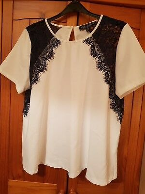 Ladies White and Navy Party Formal Top Size 14