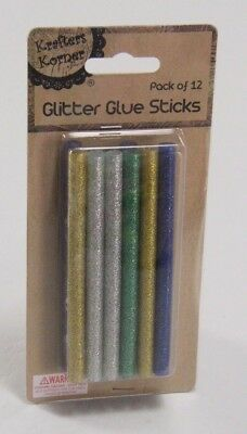 New - Glitter Hot Glue Gun Sticks - Pack Of 12 - Gold, Silver, Green, Blue