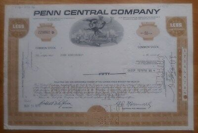 Penn Central Company 1970 Stock Certificate made out to: John Roncoroni